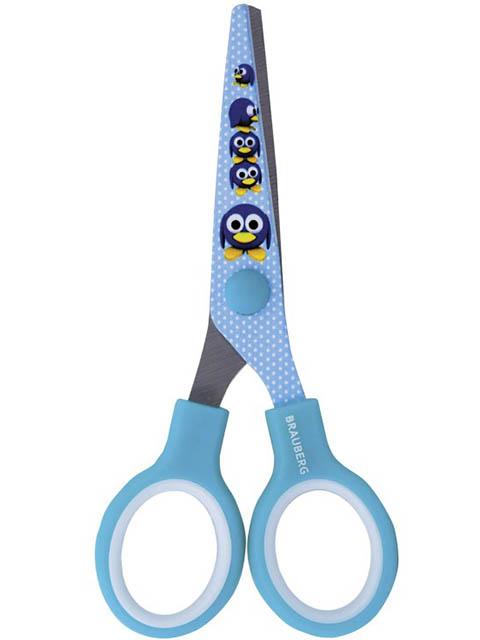 Ножницы Brauberg Kid Series Пингвины 130mm Light Blue 232271