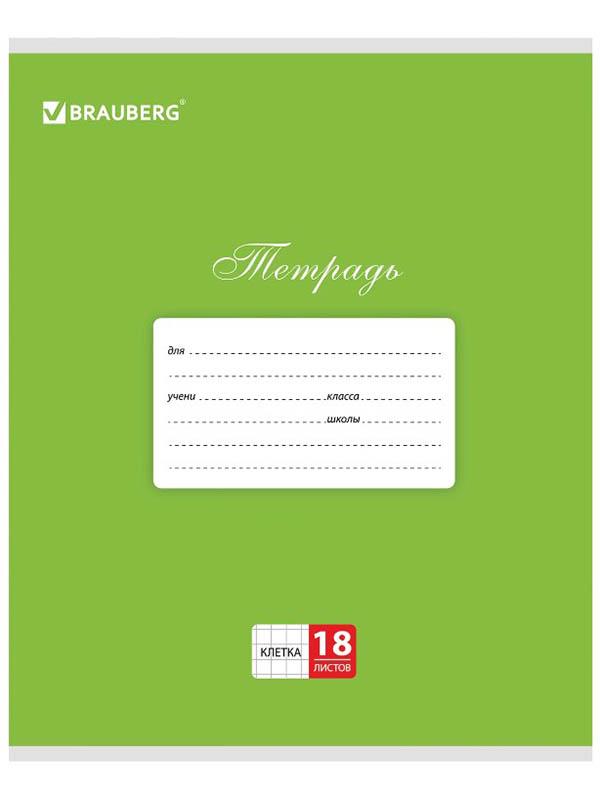 Тетрадь Brauberg 18 листов Green 104730