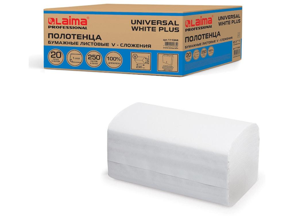 Полотенце Лайма Universal White Plus бумажное 1-слойное 23x21cm 250шт 111344