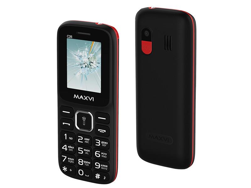 Сотовый телефон Maxvi C26 Black-Red сотовый телефон maxvi c17 white red