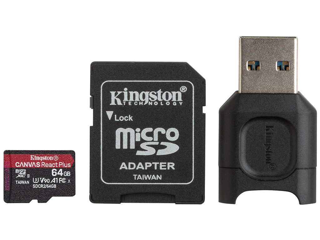 Карта памяти 64Gb - Kingston Canvas React Plus Micro Secure Digital UHS-II Video Speed Class V90 MLPMR2/64GB