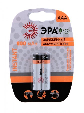Аккумулятор AAA - Эра HR03-2BL 800 mAh Instant (2 штуки) от Pleer