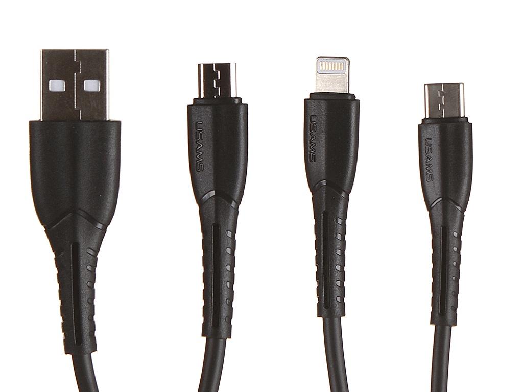 цена на Аксессуар Usams USB - USB Type-C/microUSB/Lightning Black УТ000019989