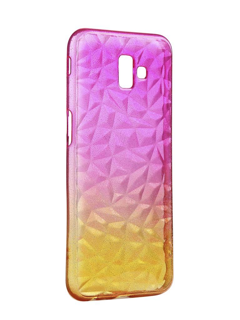 Чехол Krutoff для Samsung Galaxy J6 Plus SM-J610 Crystal Silicone Yellow-Pink 12262