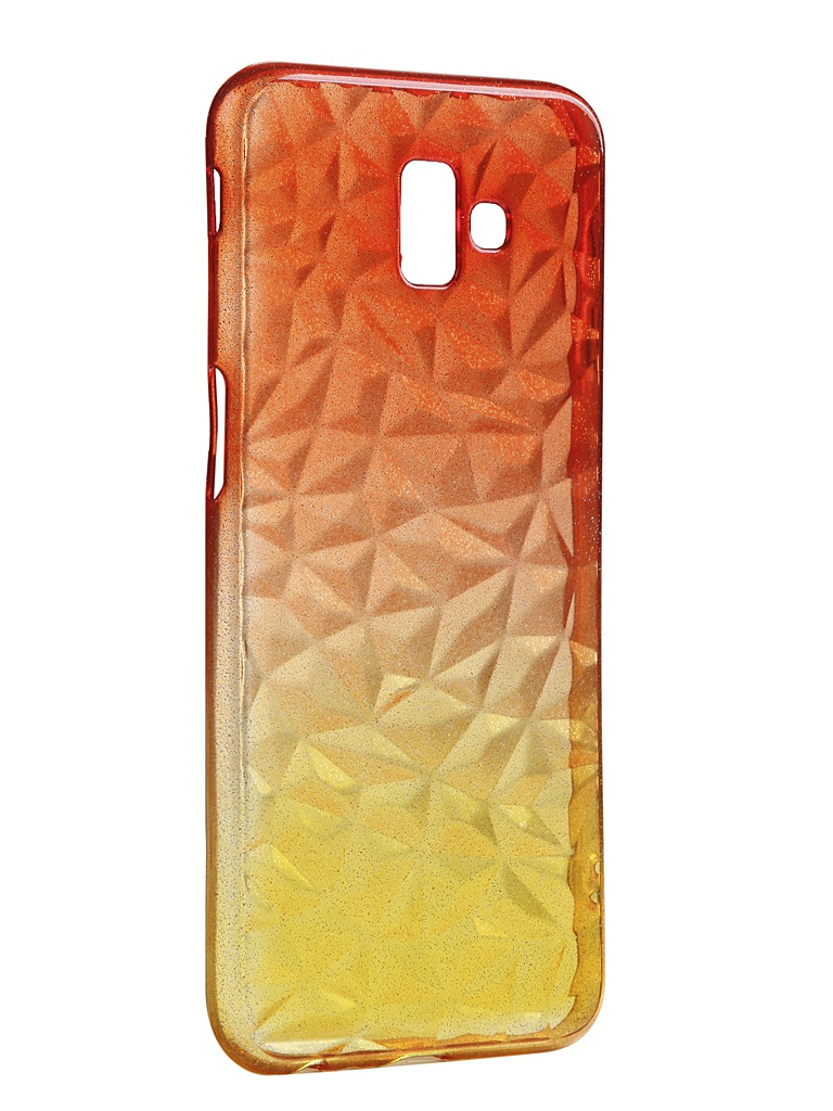 Чехол Krutoff для Samsung Galaxy J6 Plus SM-J610 Crystal Silicone Yellow-Red 12261 аксессуар чехол накладка samsung galaxy sm e700 e7 activ silicone red mat 46703
