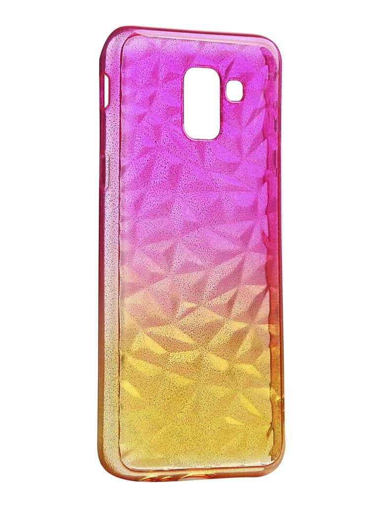 Чехол Krutoff для Samsung Galaxy J6 2018 SM-J600 Crystal Silicone Yellow-Pink 12244