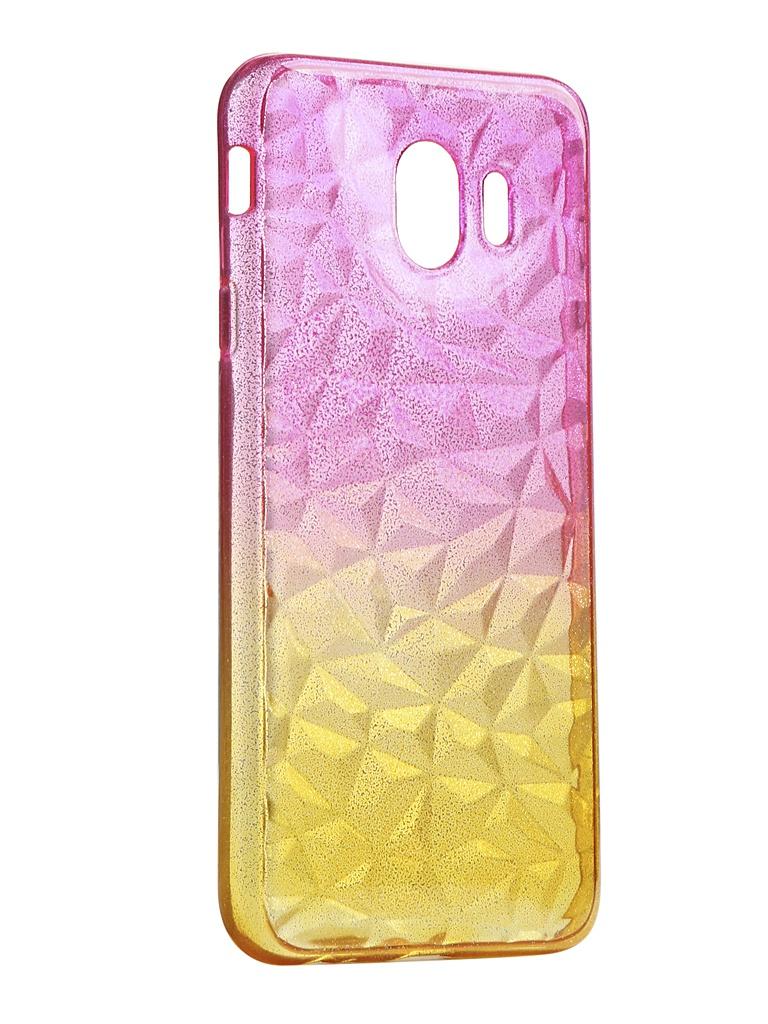 Чехол Krutoff для Samsung Galaxy J4 2018 SM-J400 Crystal Silicone Yellow-Pink 12250