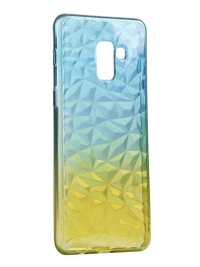 Чехол Krutoff для Samsung Galaxy A8 Plus SM-A730 Crystal Silicone Yellow-Blue 12227 аксессуар чехол накладка для samsung galaxy a8 sm a730f krutoff tpu transparent 11949