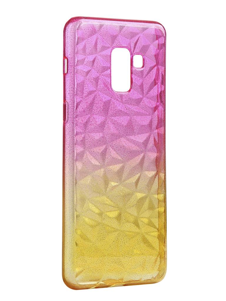 Чехол Krutoff для Samsung Galaxy A8 Plus SM-A730 Crystal Silicone Yellow-Pink 12226
