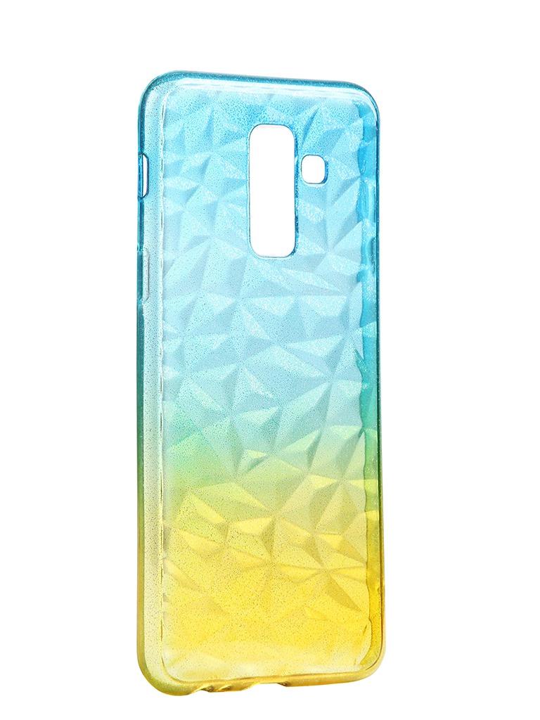 Чехол Krutoff для Samsung Galaxy A6 Plus SM-A605 Crystal Silicone Yellow-Blue 12239