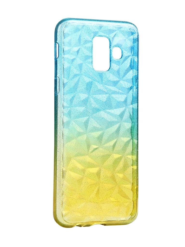 Чехол Krutoff для Samsung Galaxy A6 SM-A600 Crystal Silicone Yellow-Blue 12233