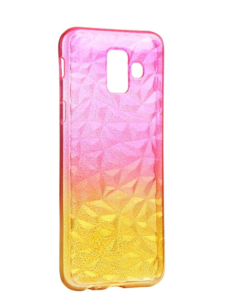 Чехол Krutoff для Samsung Galaxy A6 SM-A600 Crystal Silicone Yellow-Pink 12232