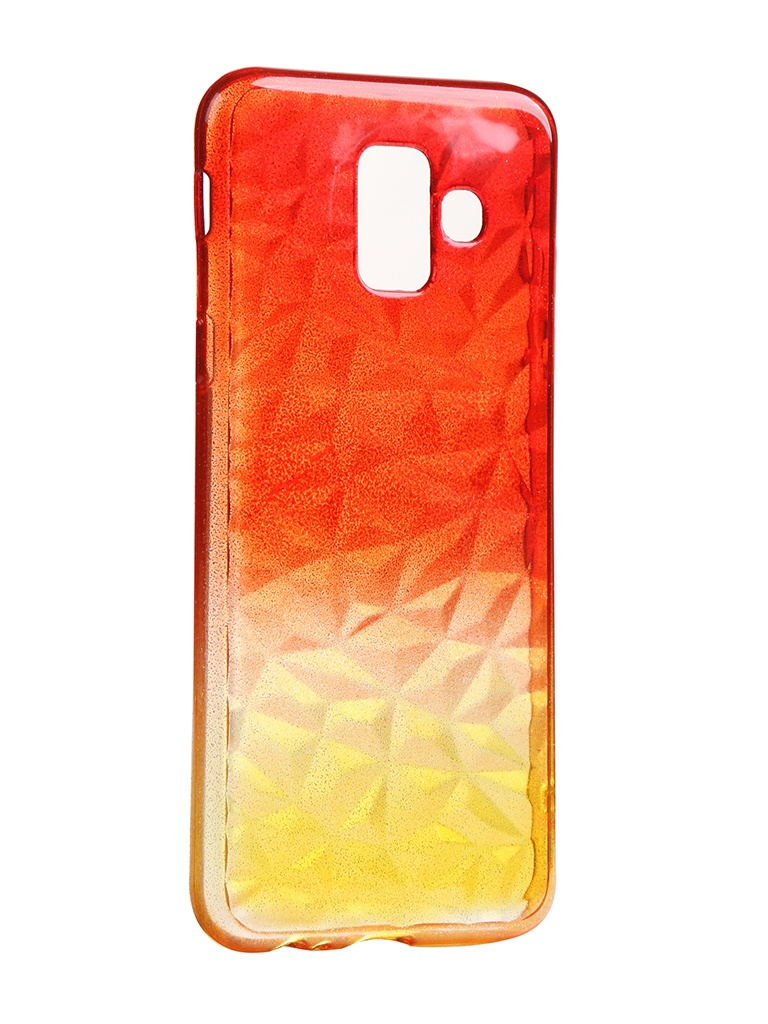 Чехол Krutoff для Samsung Galaxy A6 SM-A600 Crystal Silicone Yellow-Red 12231