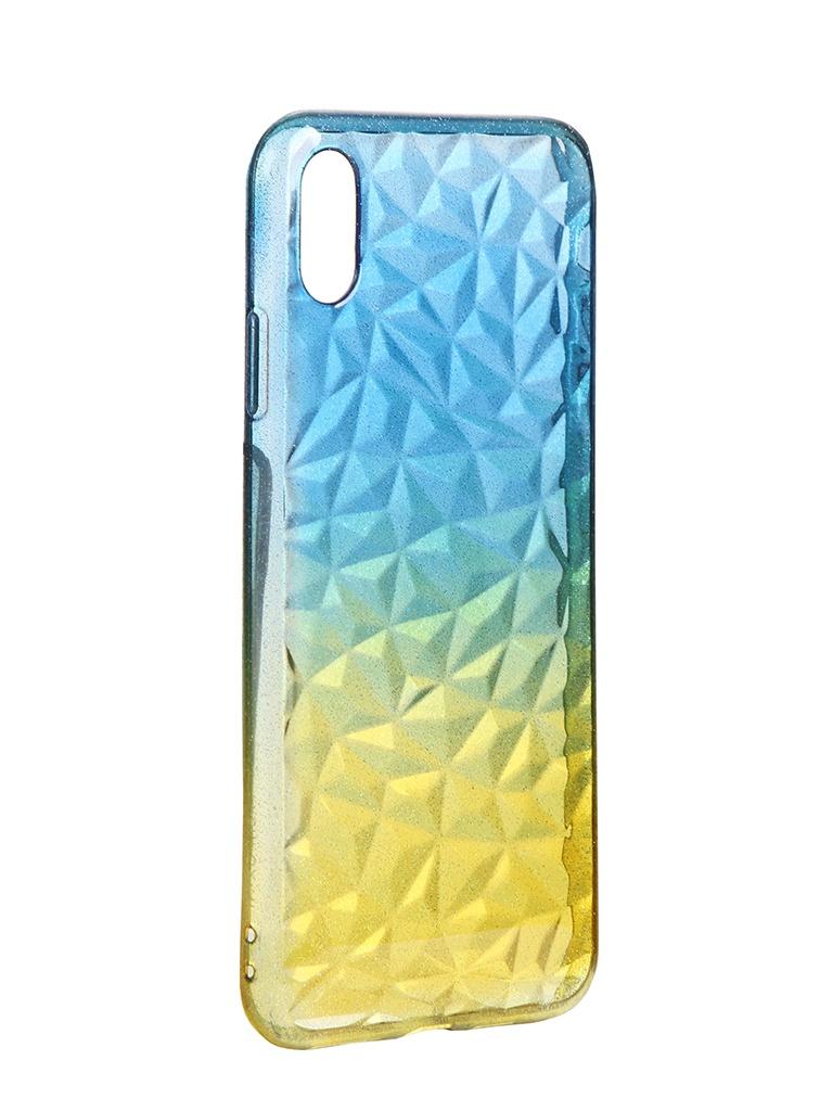 Чехол Krutoff для APPLE iPhone XS Max Crystal Silicone Yellow-Blue 12215