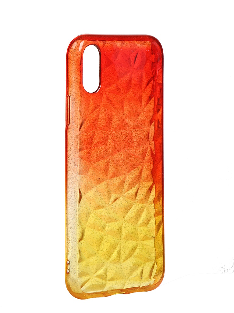 Чехол Krutoff для APPLE iPhone XS Max Crystal Silicone Yellow-Red 12213
