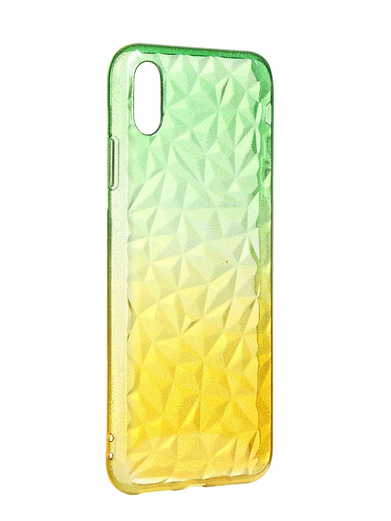 Чехол Krutoff для APPLE iPhone XS Max Crystal Silicone Yellow-Green 12212