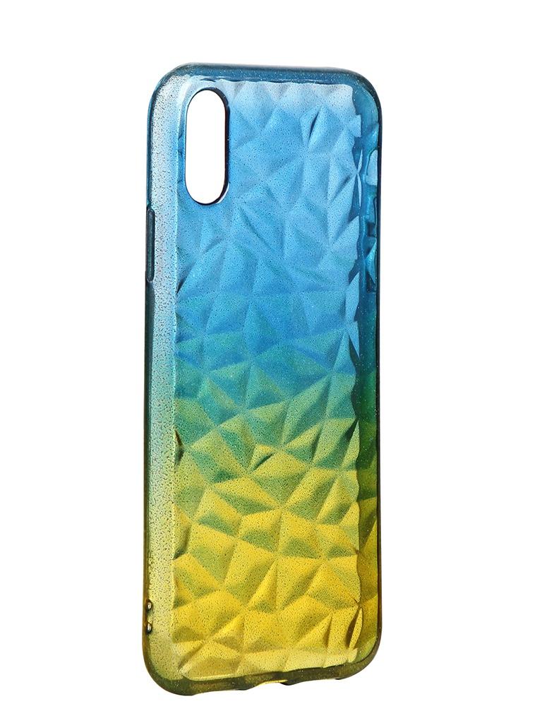 Чехол Krutoff для APPLE iPhone XR Crystal Silicone Yellow-Blue 12209