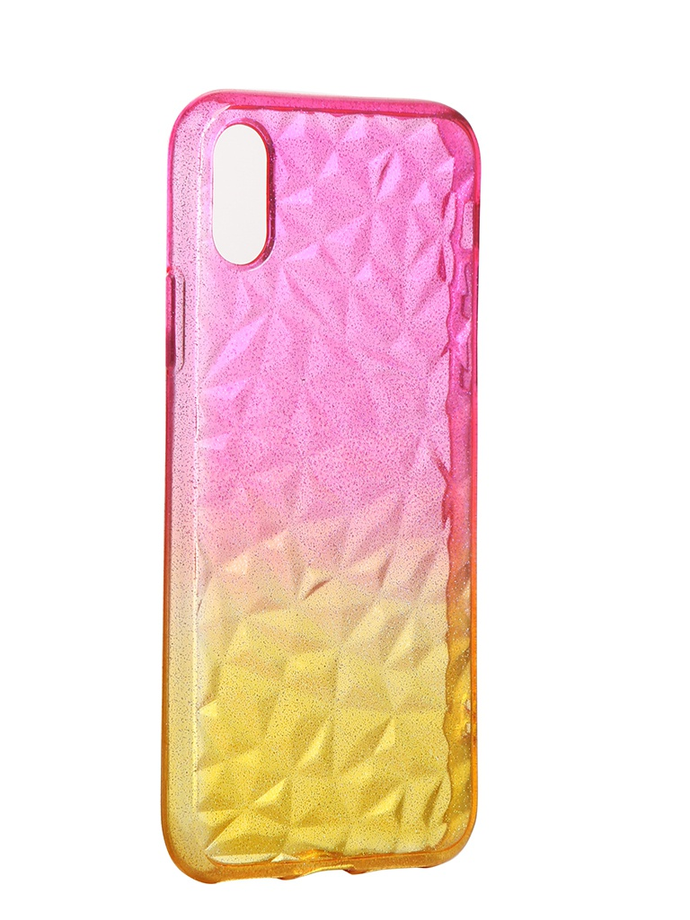 Чехол Krutoff для APPLE iPhone X / XS Crystal Silicone Yellow-Pink 12202
