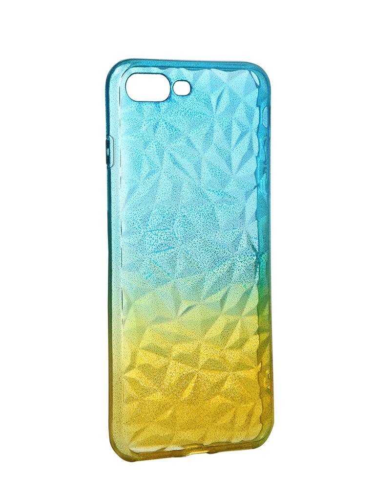 Чехол Krutoff для APPLE iPhone 7 Plus / 8 Crystal Silicone Yellow-Blue 12197