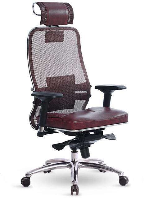 Компьютерное кресло Метта Samurai SL-3.03 с 3D подголовником Dark Bordo