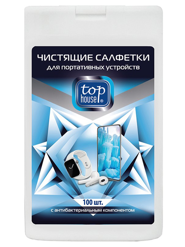 Чистящие салфетки с антибактериальным компонентом Top House 100шт 393408