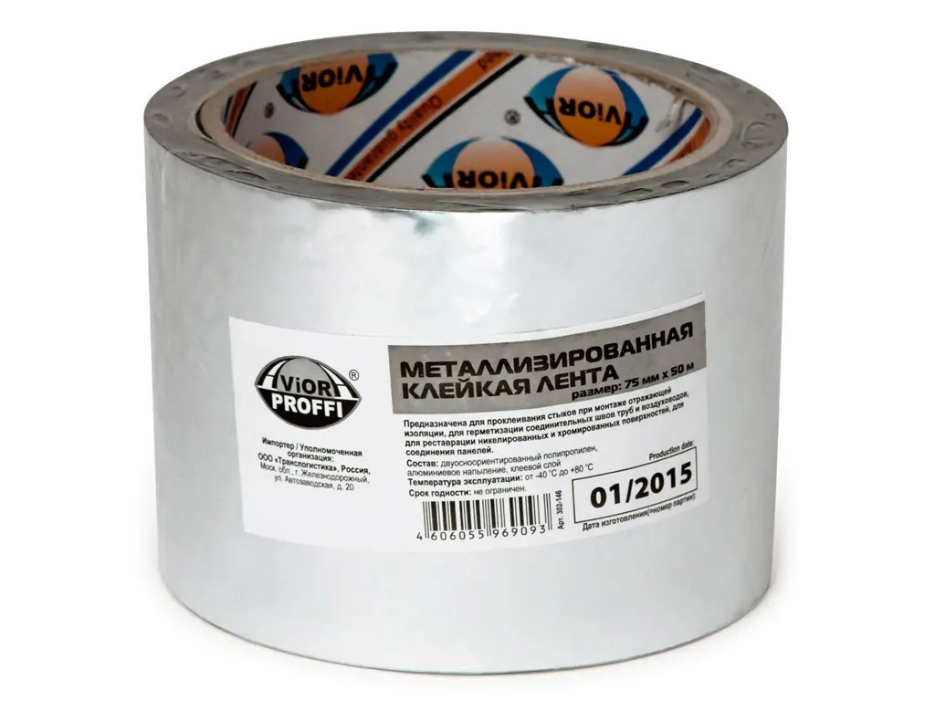 Лента металлизированная Aviora Proffi 75mm x 50m 302-146
