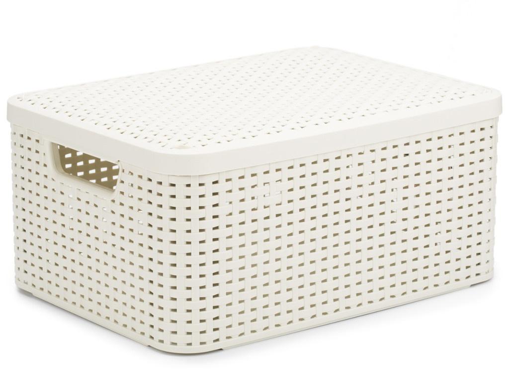 Корзина Curver Rattan Style Box M + крышка Cream 03618-885