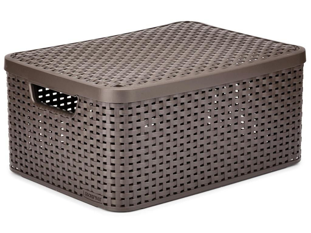 Корзина Curver Rattan Style Box M + крышка Dark Brown 03618-210