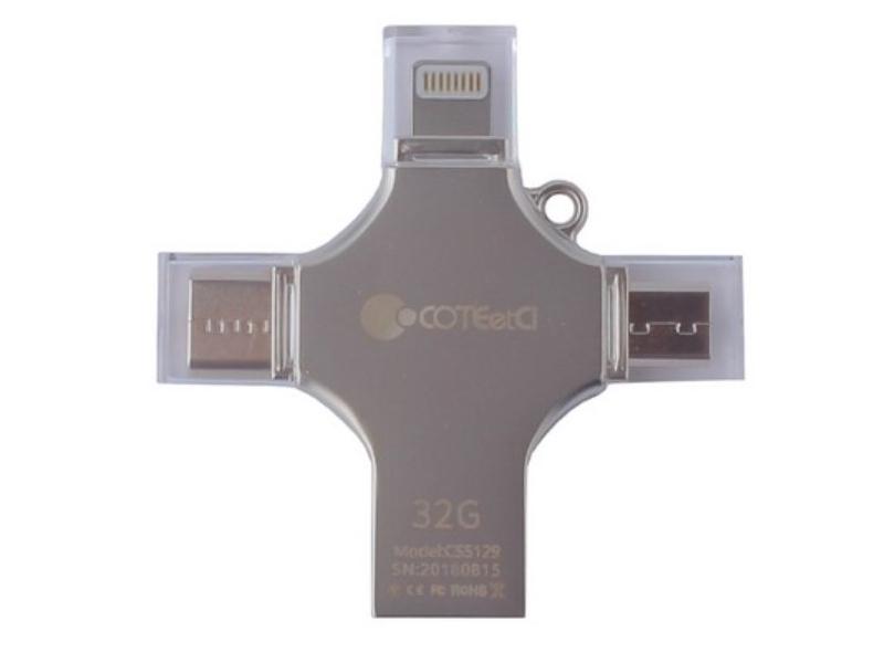 Фото - USB Flash Drive 32Gb - COTEetCI U3 Zinc Alloy U OTG USB/Lightning/Type-C/MicroUSB Grey CS5129-32G профиль алюминиевый u обр серебро 10х15х10х1 5х1000мм