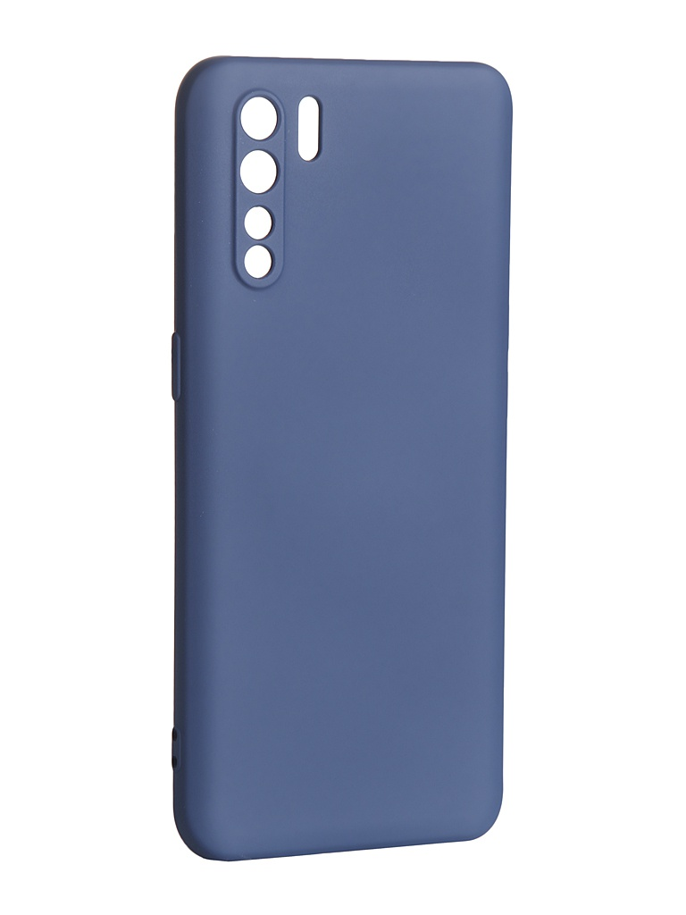 Чехол DF для Oppo Reno 3 с микрофиброй Silicone oOriginal-01 Blue