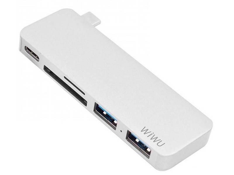 Адаптер Wiwu T6 Pro Type С - Type C / 3xUSB 3.0 / HDMI Grey 6957815513178 высокое качество роскошный кошелек кожаный чехол для thl t6 t6s t6 pro откидная крышка чехол с помощью кредитной карты держатели