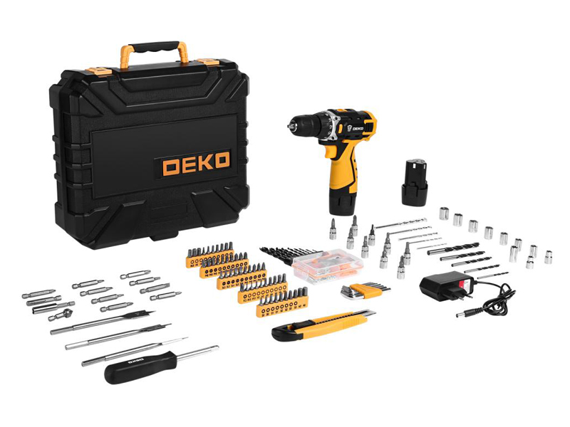Электроинструмент Deko DKCD12FU-Li 2x1.5Ah + набор 193 предмета 063-4139
