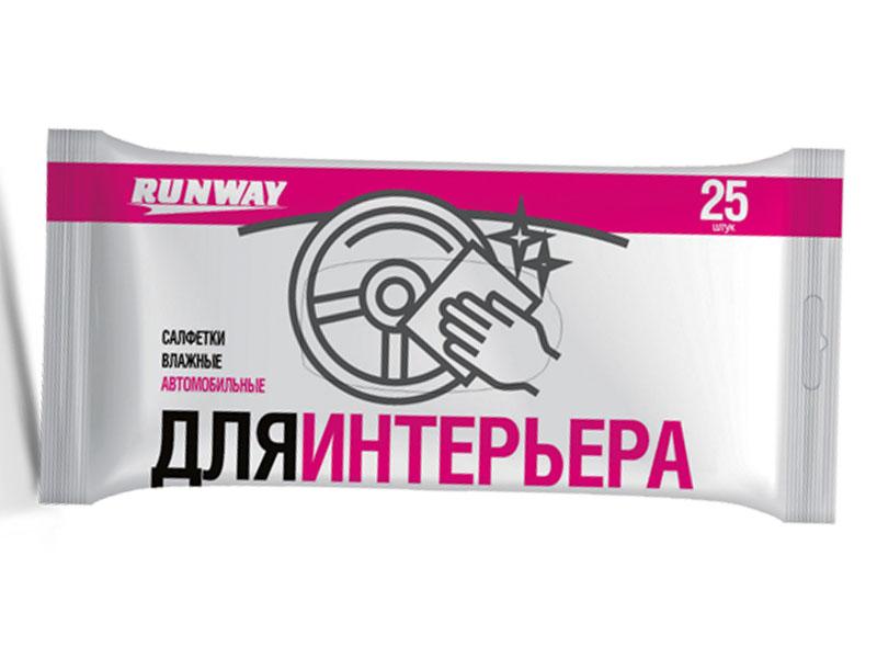 цена на Салфетки влажные для ухода за интерьером автомобиля Runway RW641