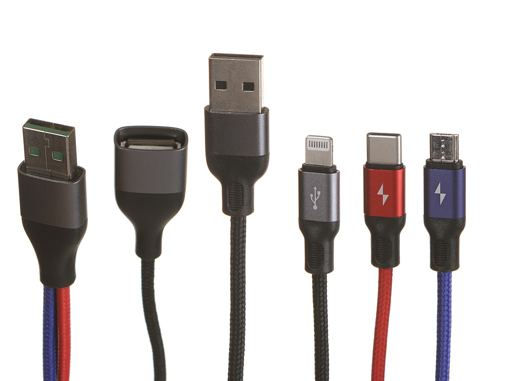 Аксессуар Usams US-SJ420 USB - Type-C / MicroUSB Lightning Black УТ000020307