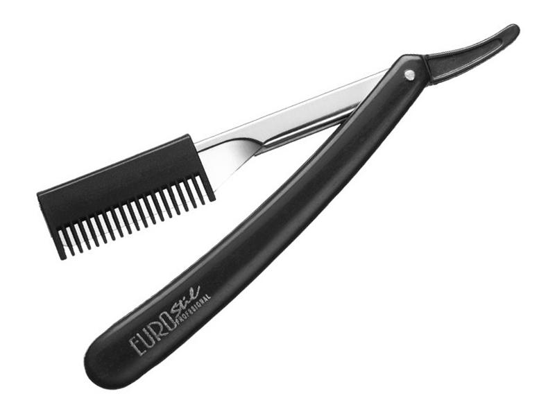 Бритва парикмахерская опасная с филировочной насадкой Eurostil 00730.