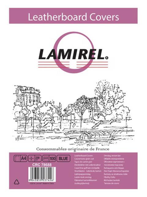 Обложка для переплета Fellowes Lamirel A4 230g/m2 100шт Blue LA-78688/1146580 обложка для переплетов fellowes lamirel a4 250г м2 красный 100шт la 7868601