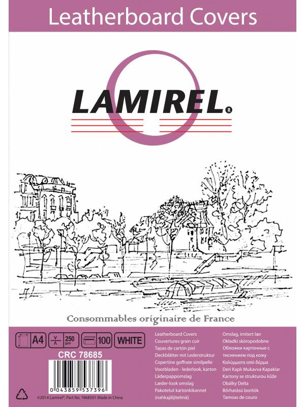 Обложка для переплета Fellowes Lamirel A4 230g/m2 100шт White LA-78685/1146581 обложка для переплетов fellowes lamirel a4 250г м2 красный 100шт la 7868601
