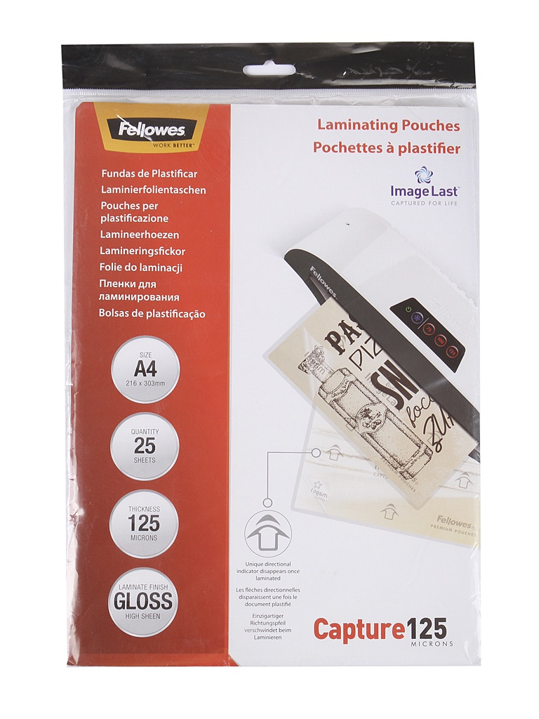 Пленка для ламинирования Fellowes A4 216x303mm 125мкм 25шт глянцевая CRC-53963/1146215