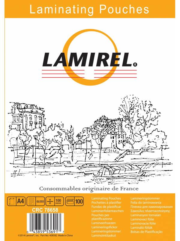 Пленка для ламинирования Fellowes Lamirel A4 100мкм 100шт глянцевая LA-7865801/LA-78658/827736