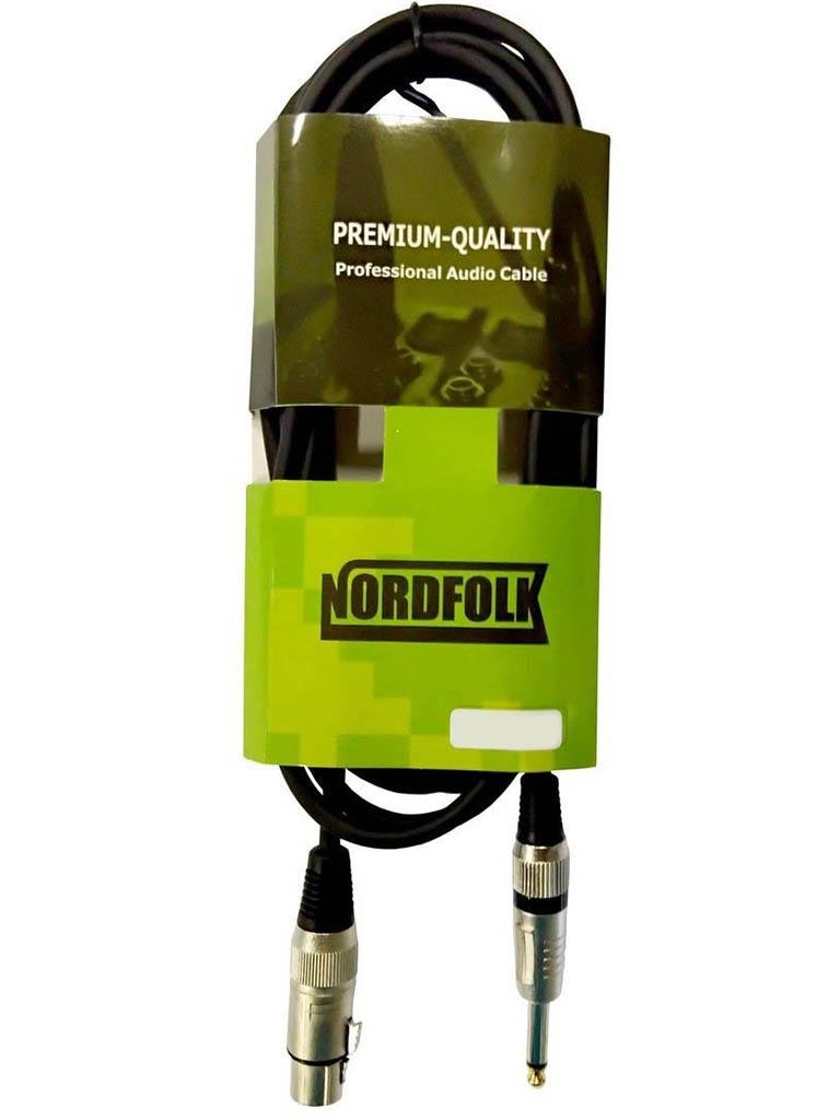 Кабель микрофонный NordFolk XLR/F - 6.35mm Jack Mono 3m NMC246/3M