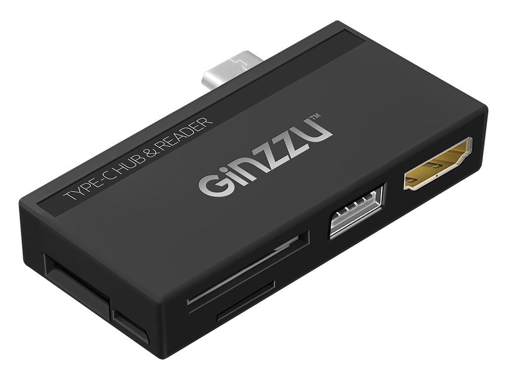 Карт-ридер Ginzzu EXT GR-862UB USB Type-C - HDMI/USB 2.0/microUSB/microSD/SD Black 17435