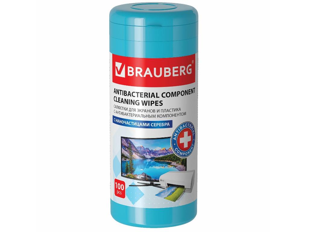 Салфетки антибактериальные для экранов и пластика Brauberg XXL 100шт 513476