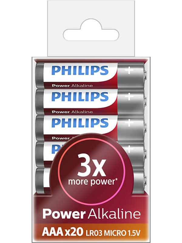 Батарейка AAA Philips Power Alkaline LR03P20T/10 (20 штук)