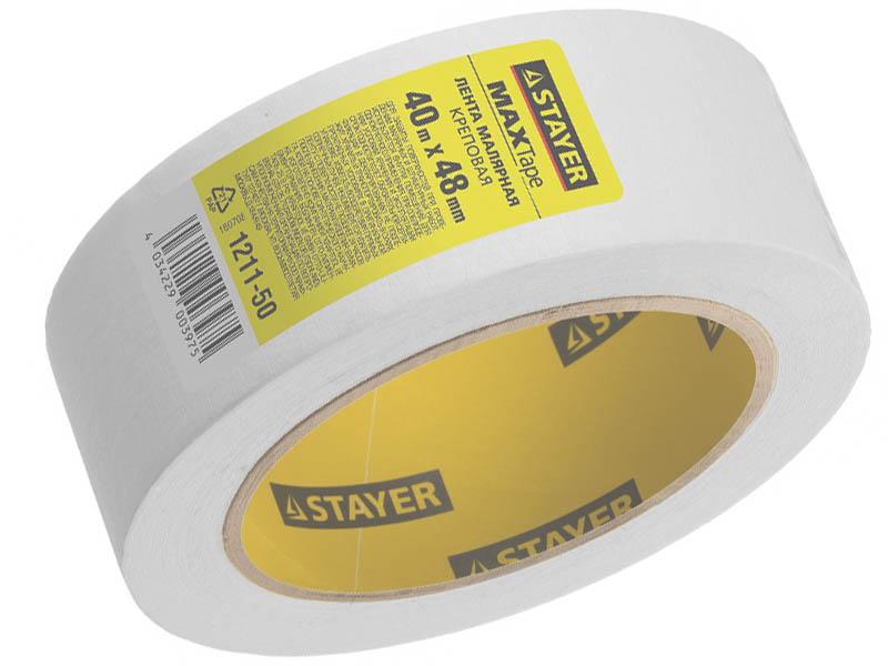 Клейкая лента Stayer Малярная 48mm x 40m 1211-50 лента клеящая на тканевой основе stayer professional 12086 50 50