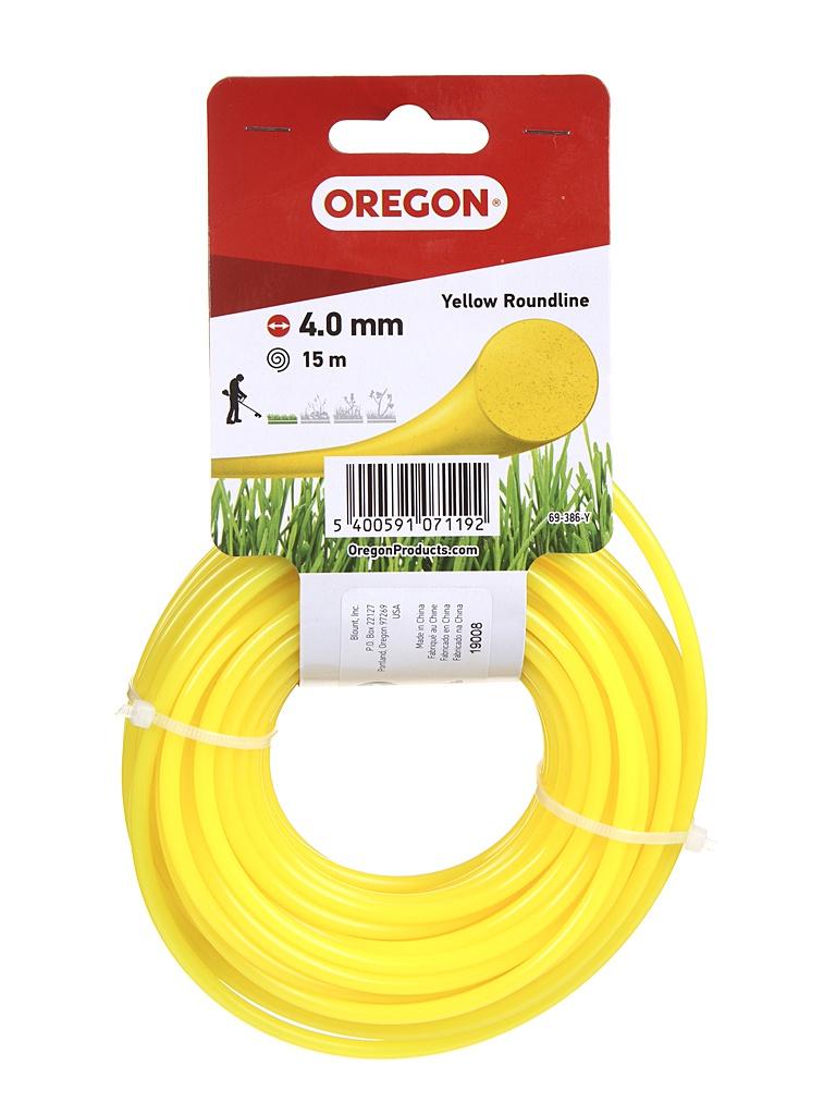 Леска для триммера Oregon Yellow Roundline 4mm x 15m 69-386-Y