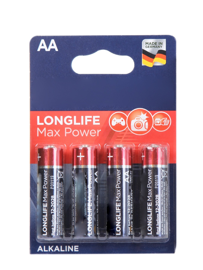 Батарейка AA - Varta Longlife Max Power 4706 LR6 (4 штуки) VR LR6/4BL MAX PW