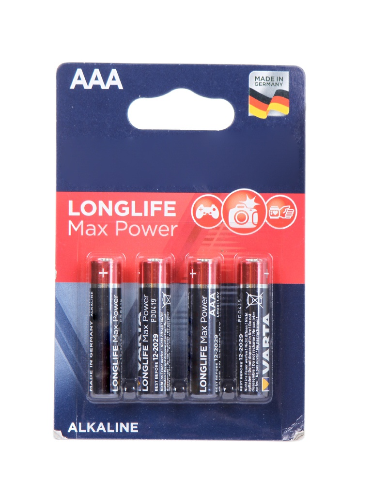 Батарейка AAA - Varta Longlife Max Power 4703 LR03 (4 штуки) VR LR03/4BL MAX PW