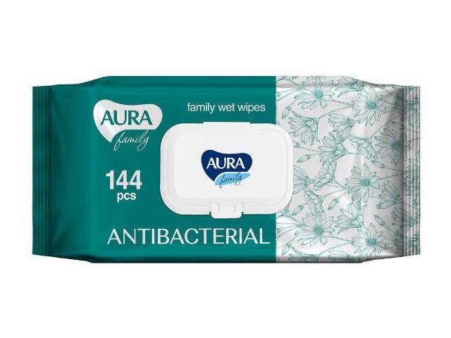 Салфетки AURA Family Антибактериальные 144шт 9656