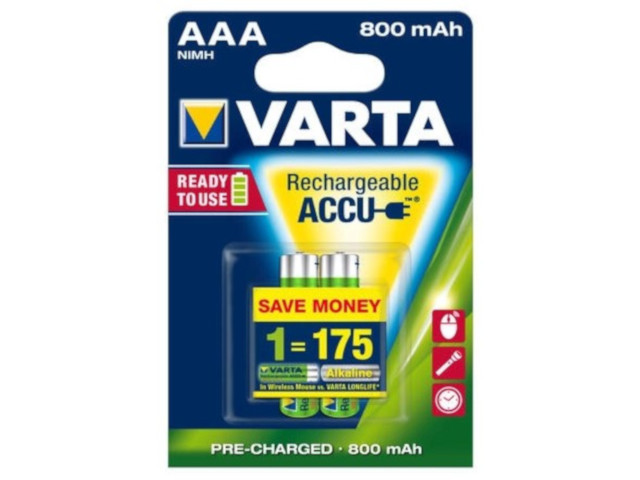 Аккумулятор AAA - Varta Ready2Use 800 mAh (2 штуки) VR AAA800mAh/2BL R2U