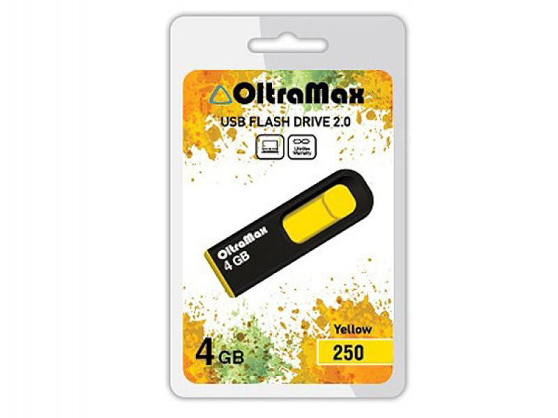 USB Flash Drive 4Gb - OltraMax 250 OM-4GB-250-Yellow